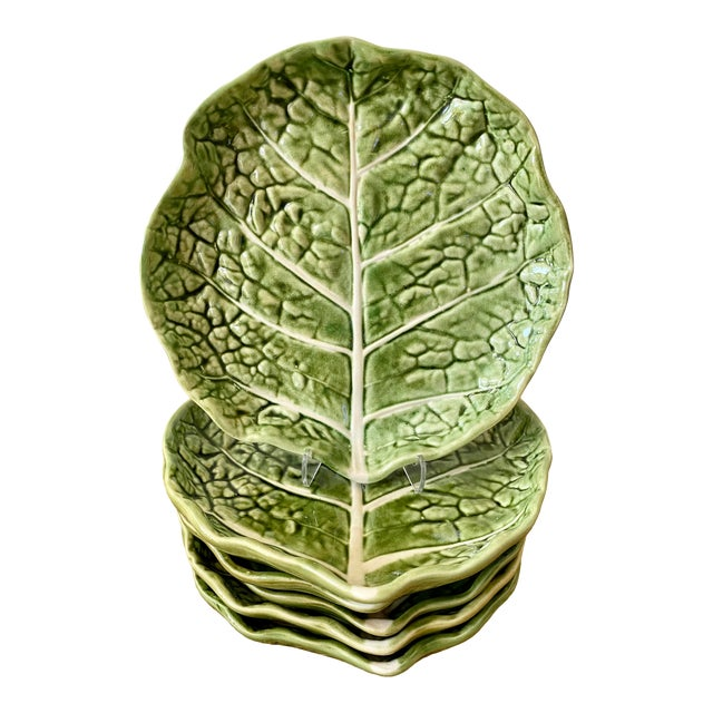Mid 20th Century Green Cabbage Leaf Plates Portugal - Set of 6 For Sale