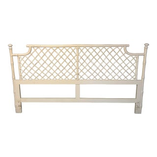 Vintage Ficks Reed Rattan and Wicker King Size Pagoda Headboard For Sale
