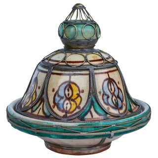 Moroccan Ceramic Lidded Bowl With Inlay For Sale