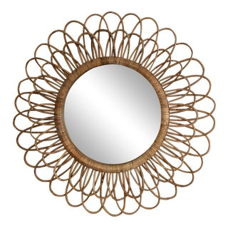 Rattan Woven Starburst Style Mirror For Sale