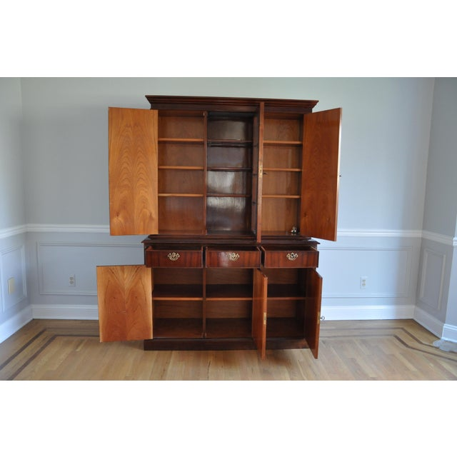 Vintage Artisan Crafted Mohogany Breakfront China Cabinet For Sale - Image 4 of 6