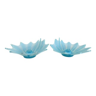 Fostoria Heirloom Blue Flora Pair of Vintage Candle Holders For Sale