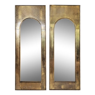 Palladian Mastercraft Brass Etched Mirrors - a Pair For Sale