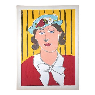 Vintage Mid 20th C. Lithograph From Verve-Female Portrait by Henri Matisse For Sale