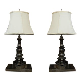 Pair of French Polished Iron Column Lamps For Sale