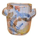 Image of American Contemporary Beige Blue & Brown Pottery Earthenware Vase Vessel Handles For Sale