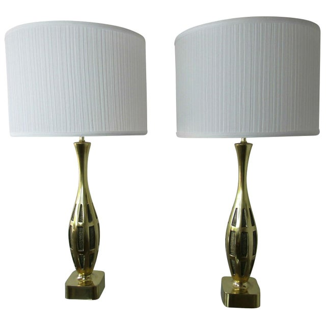 White Tony Paul Midcentury Brass Lamps - a Pair For Sale - Image 8 of 8