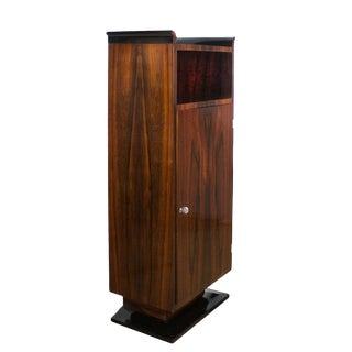 1930s Art Deco Dry Bar, Mahogany Veneer, Maple Inside, Copper, Brass, France For Sale