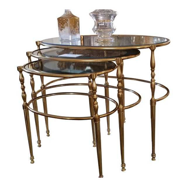 Mid Century Brass Oval Nesting Tables - Set of 3 Dimensions of Tables a-c: Wa 25 Da 16.5 Ha 19 Wb 20 Db 14 Hb 18.5 Wc 16...