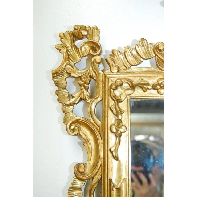 Giltwood 19th Century Italian Rococo Style Giltwood Mirror For Sale - Image 7 of 9
