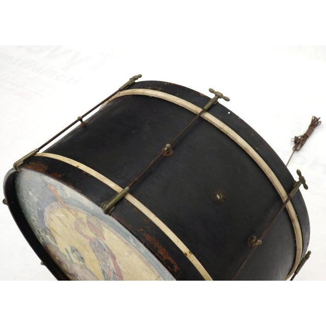 Black Large Drum Light Fixture Painted and Converted Floor Lamp For Sale - Image 8 of 12