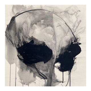 """Contemporary Abstract Acrylic, Charcoal and Graphite on Canvas Painting """"Monochrome Abstraction Part 2"""" by Adrienn Krahl For Sale"""