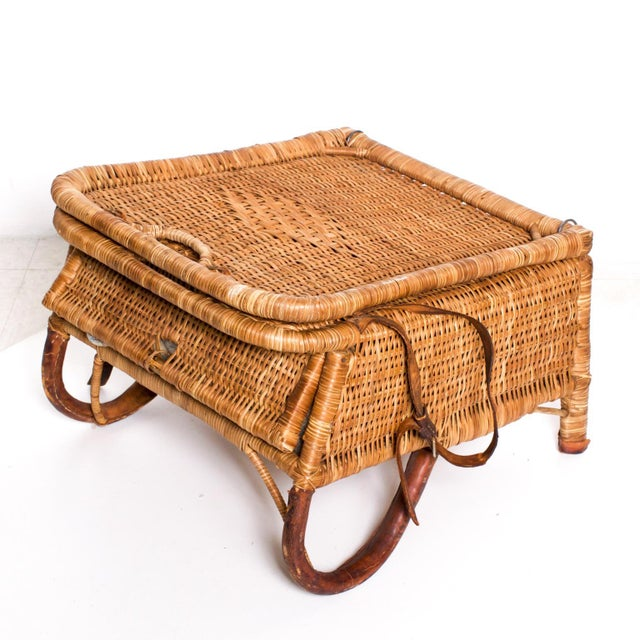 Mid Century Modern Rattan Leather Sculptural Portable Traveling Chair For Sale In San Diego - Image 6 of 11