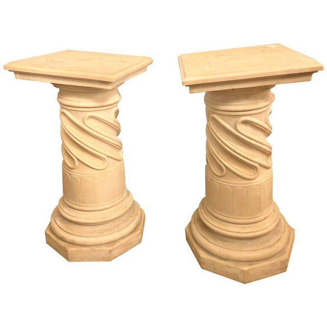 Composite Column Form Pedestals - a Pair For Sale In New York - Image 6 of 7