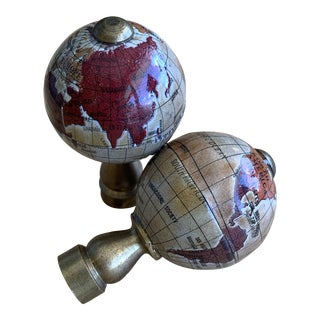 Vintage Globe Finials - a Pair For Sale