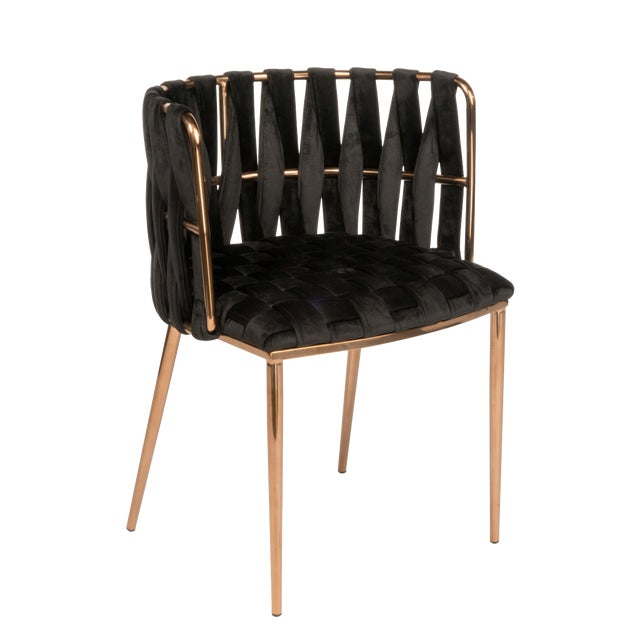 Modern Milano Dining Chair in Black and Gold For Sale