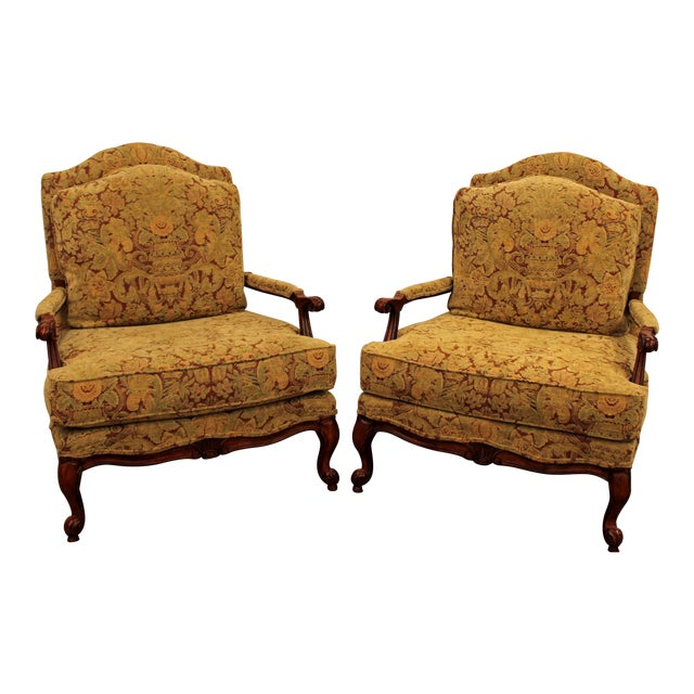 Ethan Allen French Country Lounge Chairs - A Pair - Image 1 of 11
