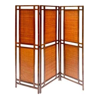 Mid-Century Modern Walnut and Rattan Folding Screen For Sale
