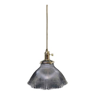 Antique Glass 6.375 In. Holophane Pendant Light For Sale