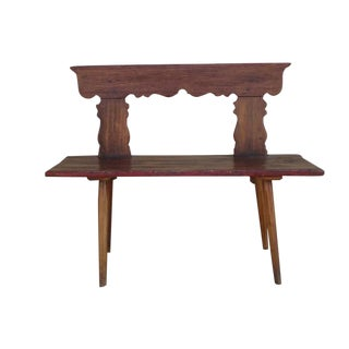 Rustic Antique Oak Cottage Bench For Sale