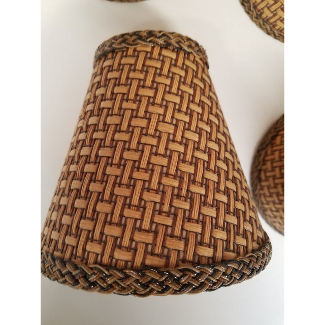 Fun set of natural wicker shades unused condition.