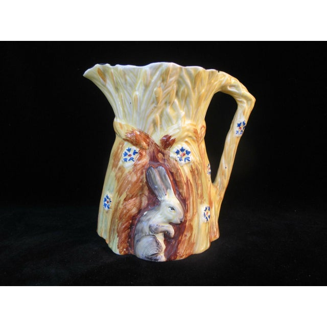 Yellow 1930s Burleigh Ware Vintage Figural Bunny Rabbit Harvest Wheat Pitcher For Sale - Image 8 of 8