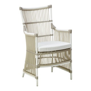 Davinci Exterior Chair - Dove White - Tempotest White Canvas Cushion For Sale