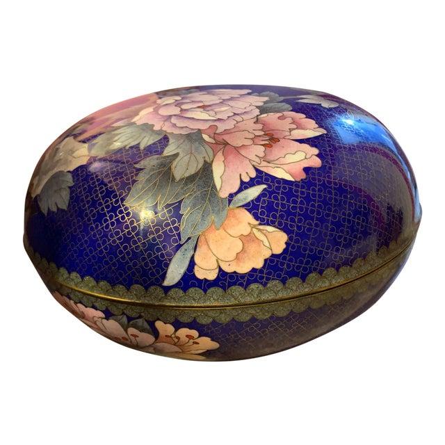 "Large ""Cloisonne"" Enamel Bronze Bowl With Top For Sale"
