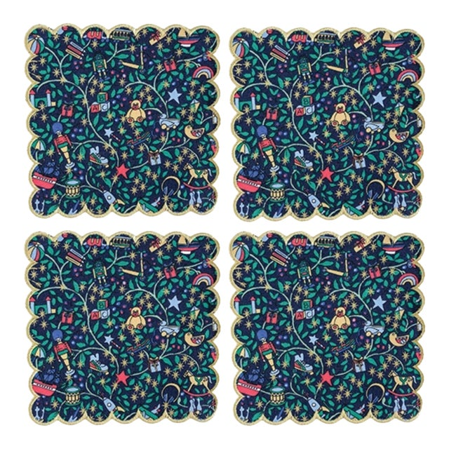 Liberty of London Scalloped Cocktail Napkins Green Magical Forest with Gold Trim - Set of 4 For Sale