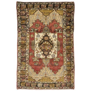 Vintage Mid-Century Turkish Oushak Accent Rug - 4′ × 5′11″ For Sale