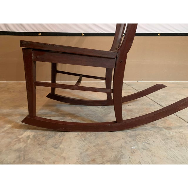 Brown Antique Carved Scrolled Splat Back Solid Wood Brown Painted Children's Rocking Chair For Sale - Image 8 of 13