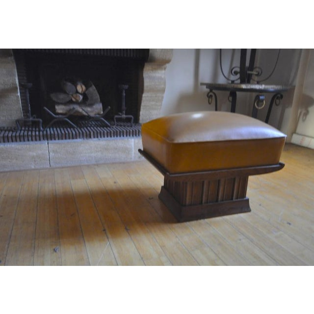 1930s Alfred Porteneuve Superb Stool With an Oak Carved Base and Leather Cover For Sale - Image 5 of 7