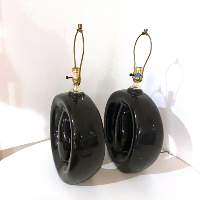 Mid 20th Century Mid-Century Modern Black Glaze Pottery Sculptural Table Lamps - a Pair For Sale - Image 5 of 8