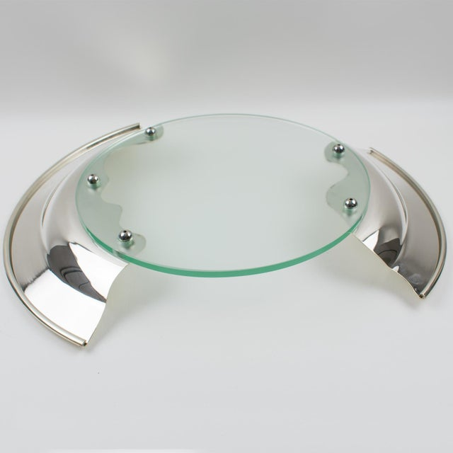 1980s Futurist Silver Plate Glass Platter Bowl Centerpiece For Sale - Image 10 of 11