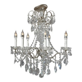 Vintage French Silver Gilt and Cut Crystal Chandelier 20th Century For Sale