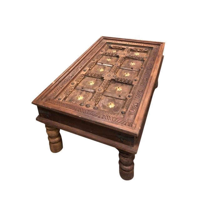 Vintage Indian Window Chai Coffee Table Brass Iron Stars Chairish - Window coffee table for sale