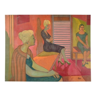 """Vintage 1959 Painting """"Waiting Room"""" Dick Fort Chicago Nightclub Series For Sale"""