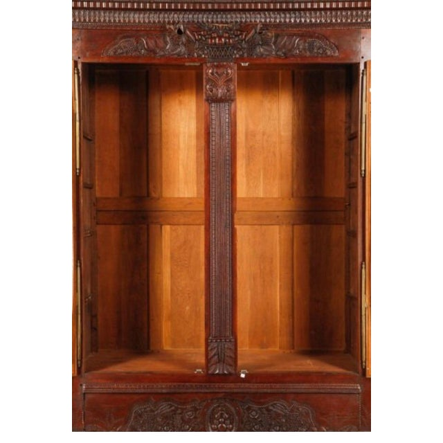 Carved Oak French Armoire - Image 6 of 6