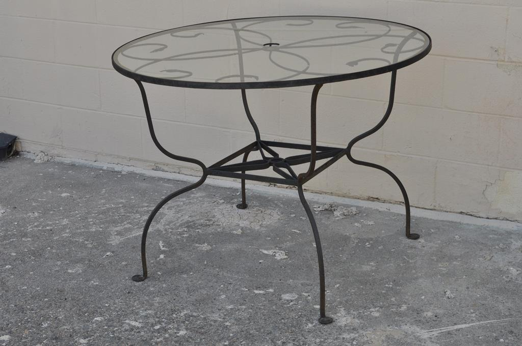 Superbe Vintage Salterini Wrought Iron Art Nouveau Deco Patio Garden Round Dining  Table   Image 6 Of