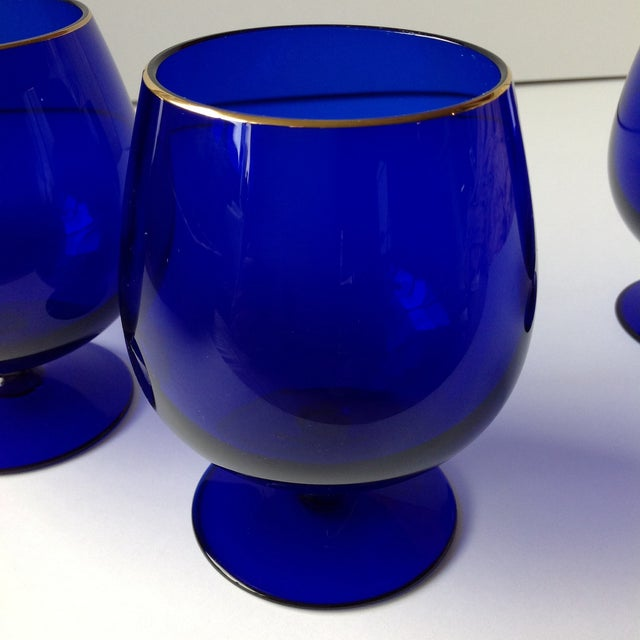 Glass Ralph Lauren Cobalt Blue Brandy Glasses - Set of 4 For Sale - Image 7 of 8