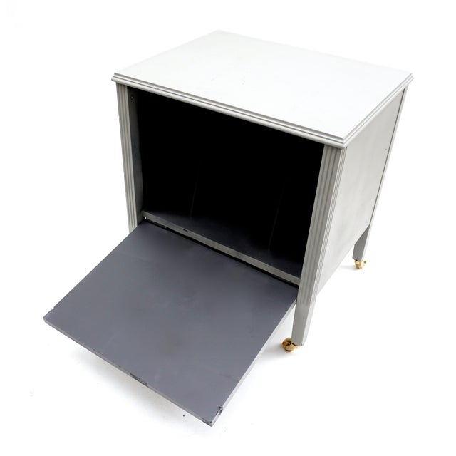 Art Deco Gray & Gold Rolling Record Cabinet For Sale - Image 10 of 11