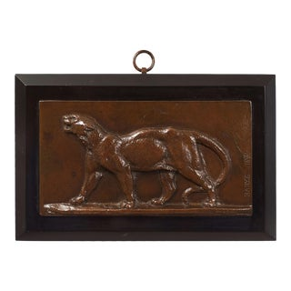 French Antique Bronze Bas-Relief Plaque of Leopard by Antoine-Louis Barye For Sale