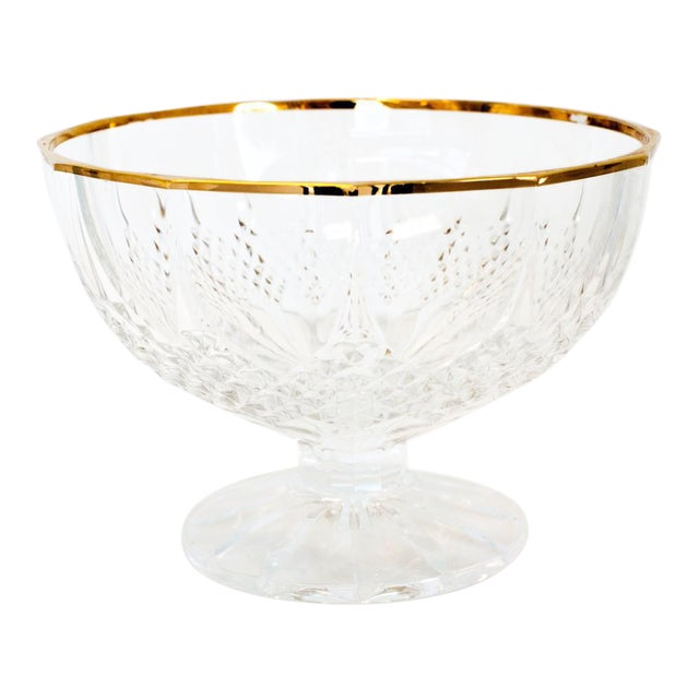 Late 20th Century French Country Crystal and Gold Rimmed Footed Serving Bowl For Sale