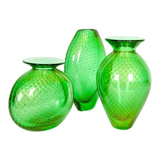 Mid Century Modern Green Murano Glass Vases - Set of 3 For Sale