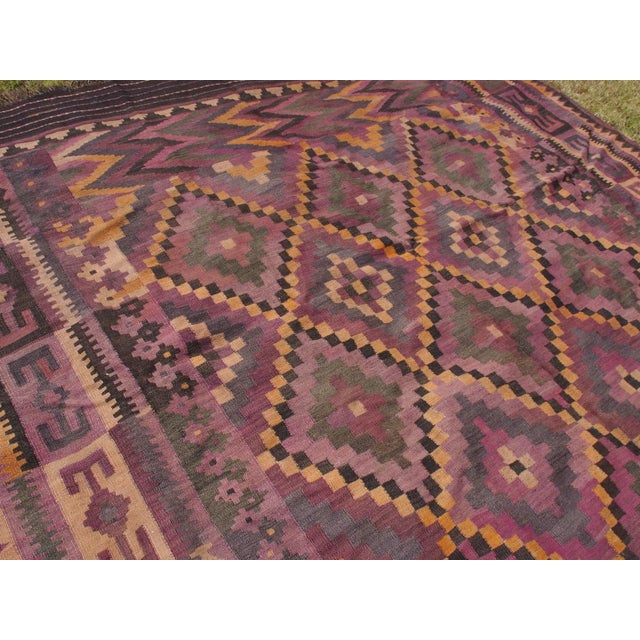 "Purple Diamond Kilim Rug - 8'8"" x 15'1"" - Image 8 of 11"