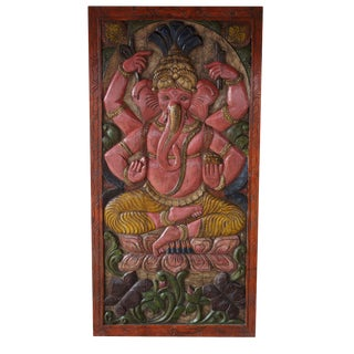 Vintage Indian Hand Carved Ganesha Sitting on Lotus Chakra Grounding Barn Door Panel Wall Rt For Sale