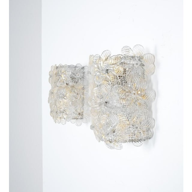 One of three Barovier & Toso flower wall lamps, Italy circa 1960. Priced individually. Very desirable set of three wall...