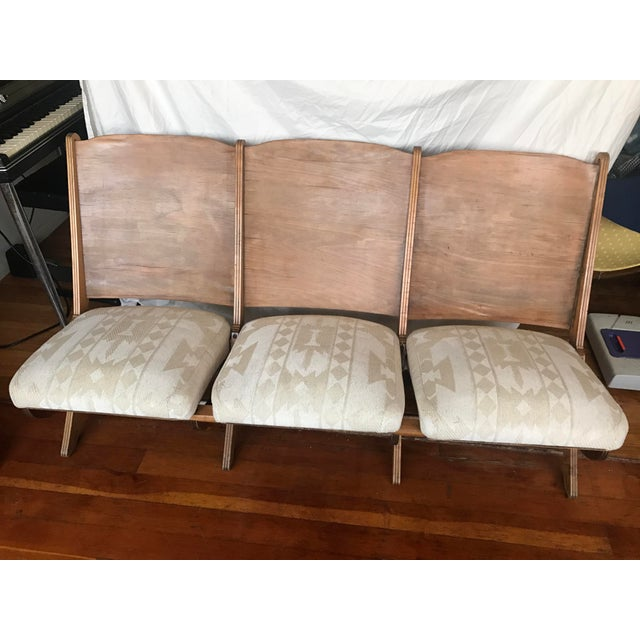1930s Folding Upholstered Theatre Seats / Bench - Image 3 of 5