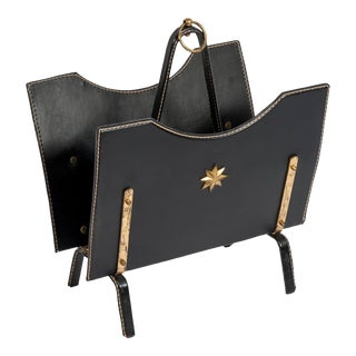 Stitched Leather Magazine Rack by Jacques Adnet For Sale