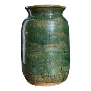 Mid-Century Modern Green Glazed Vintage Ceramic Vase With Mustard Yellow Interior For Sale